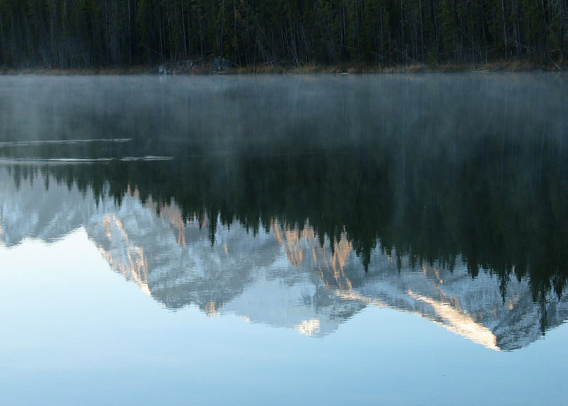 Herbert Lake reflecting Waputik Range in dawn mist<br /> Banff National Park, Alberta, Canada