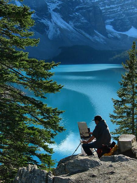 Artist at Moraine Lake<br /> Banff National Park, Alberta, Canada