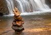Cairn at base of Cascade Falls, signalling where the trail crosses Cascade Run<br /> Patapsco Valley State Park, Elkridge, MD