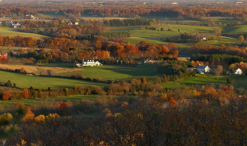 View of the Montgomery County Agricultural Reserve at sunset<br /> From Sugarloaf Mountain, Frederick County, MD
