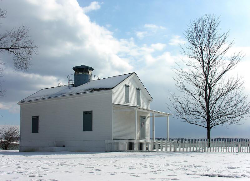 Jones Point Lighthouse in snow<br /> Jones Point Park, Alexandria, VA