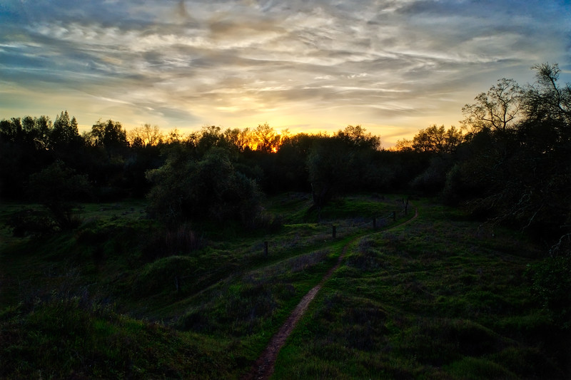 A late winter sunset along the American River