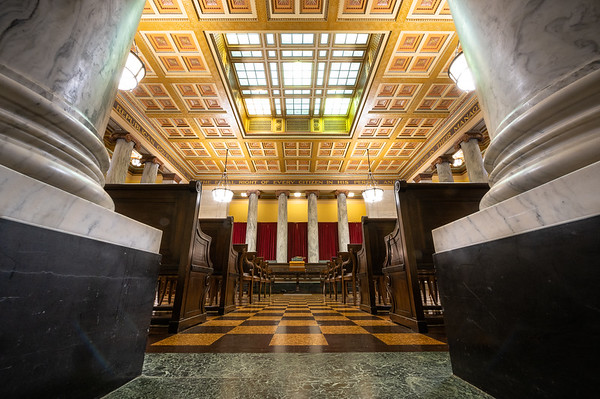 Supreme Court of Appeals of West Virginia Courtroom in the WV State Capitol.  December 2, 2019 (J. Alex Wilson - Supreme Court of Appeals of West Virginia)