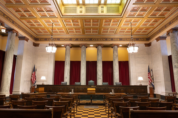 The West Virginia Supreme Court of Appeals Courtroom in the WV state capitol building in Charleston, WV.  September 26, 2019 (J. Alex Wilson)
