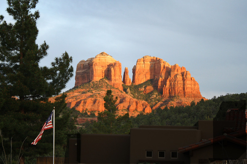 AZ 10 Cathedral Rock and American Flag