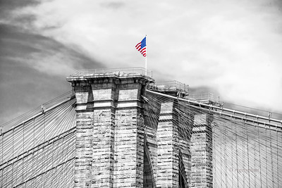 Brooklyn Bridge Tower and Flag