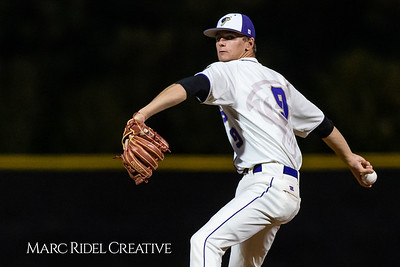 Holly Springs baseball senior Matt Wildness pitches in the Bobby Murray Invitational at Holly Springs High School. April 18, 2019. D4S_8307