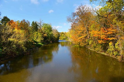 Chagrin River draped in autumn leaves