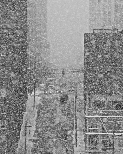 Snowy Downtown Seen from the Flats