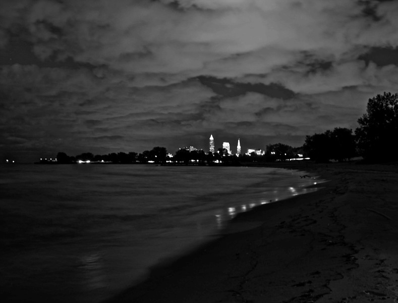 Downtown Cleveland Seen from Edgewater at Night