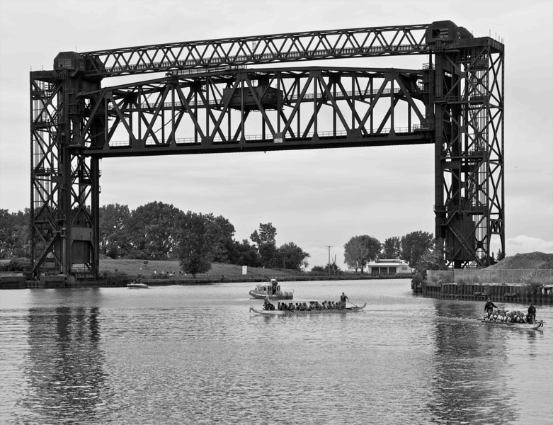 Dragon Boats and Old Train Bridge Over the Cuyahoga River