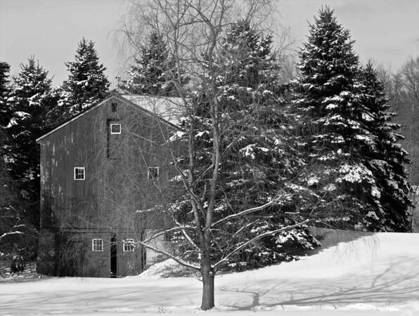 Wintery Barn Scene
