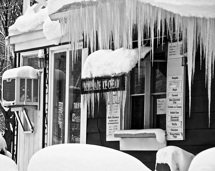 Icicles on Ice Cream Store