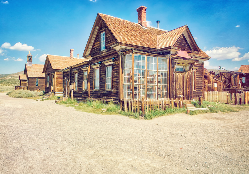 One of the many old buildings still intact in Bodie, CA