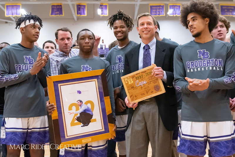 Broughton basketball senior night and Coach Farrell appreciation. February 15, 2019. 750_7507