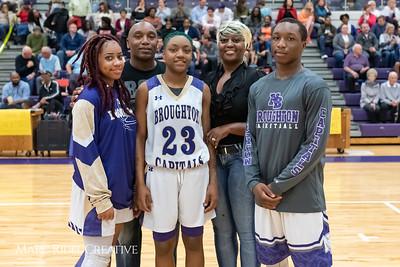 Broughton basketball senior night and Coach Farrell appreciation. February 15, 2019. 750_7421