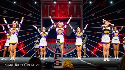 Broughton cheerleading at the NCHSAA Invitational. December 1, 2018, MRC_5457