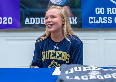 Broughton senior Addie Camak Queens University lacrosse signing day . May 28, 2020.