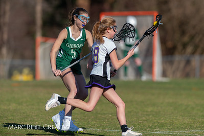 Broughton JV Lady Caps lacrosse vs Cardinal Gibbons. March 19, 2019. D4S_1136