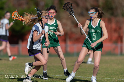 Broughton JV Lady Caps lacrosse vs Cardinal Gibbons. March 19, 2019. D4S_1135