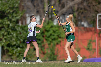 Broughton JV Lady Caps lacrosse vs Cardinal Gibbons. March 19, 2019. D4S_1191