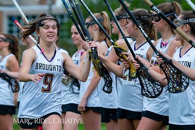 Broughton Lady Caps varsity lacrosse vs Leesville. April 9, 2019. D4S_4135