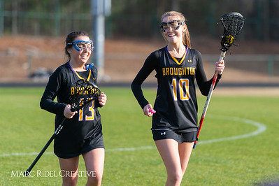 Broughton Lady Caps lacrosse at Middle Creek. February 26, 2019. D4S_1533