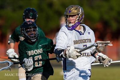 Broughton JV lacrosse vs. Cardinal Gibbons. March 16, 2018.