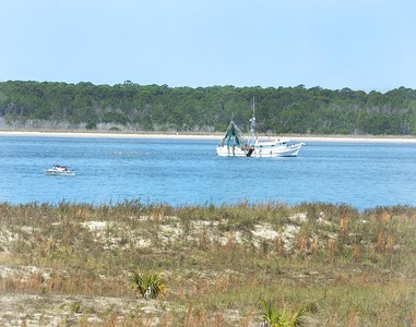 Fishing Boat and Gulls, Seabrook Island, SC