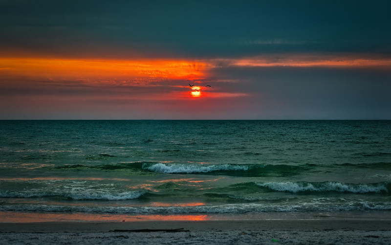 Sunset over the Gulf from Clearwater Beach