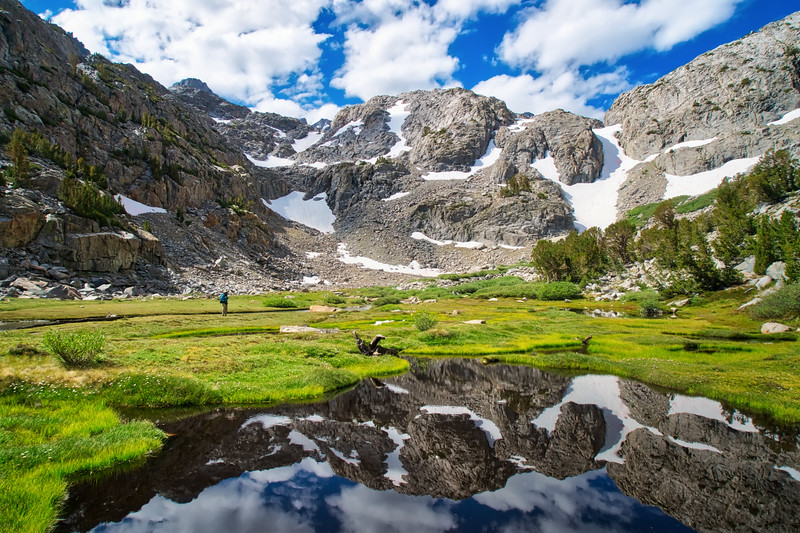 The Palisade Crest reflecting in a pond in Sam Mack Meadow