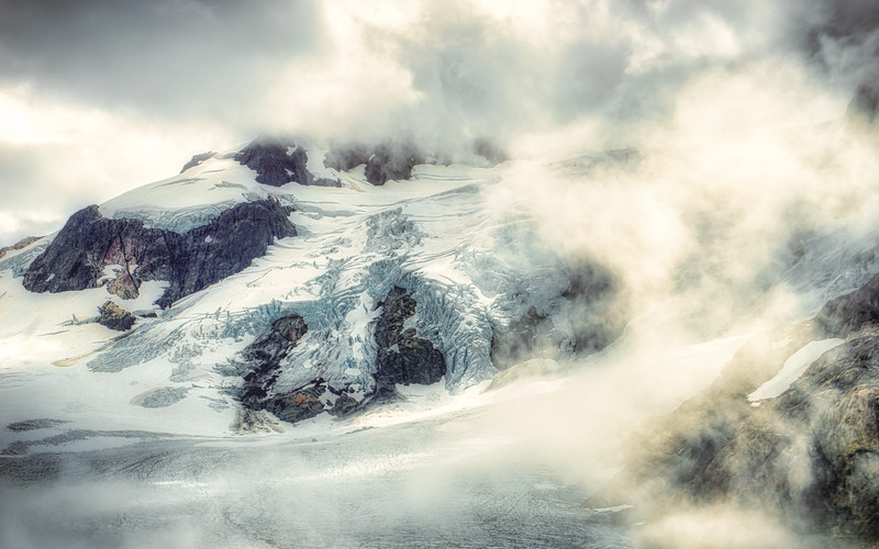 The Blue Glacier on Mt. Olympus, covered in clouds