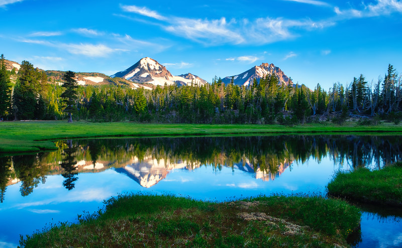 The Middle and North Sister Reflecting in Golden Lake
