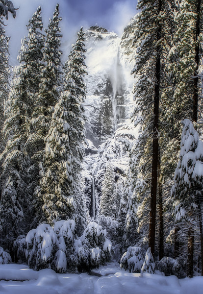 Snow covered Upper and Lower Yosemite Falls