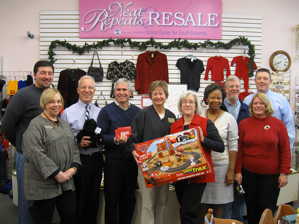 "<div id=""#1""> Members of the Tinley Park-Frankfort Rotary recently met at Neat Repeats Resale shop in Orland Park to hear how the store supports the Crisis Center for South Suburbia, a non-profit community organization that provides emergency shelter and other essential services for individuals and families victimized by domestic violence. While there, the Rotary donated $1,050 in Costco gift cards to the Crisis Center to help it purchase food and other essentials for people seeking short-term shelter. Costco supplemented the donation by sending toys to the shelter. Pictured here are: Rotarian Jim Malec, resale shop Assistant Manager Marge Troutman, Rotarians Dave Brost, Steve Purucker and Karen Wegrzyn, Crisis Center Special Events Coordinator Janice Laging, Rotarians Wendy Bumphis and Paul Lyons, resale shop store Director Joyce Athey and Rotarian Jay Walsh. </div>"