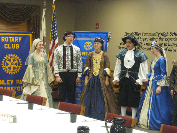 The Lincoln-Way North High School Madrigal Singers share a little holiday spirit with the Tinley Park-Frankfort Rotary Club on December 15, 2011.