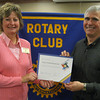 "Karen Wegrzyn, Assistant District Governor for Rotary District 6450, presents Steve Purucker, president of the Tinley Park-Frankfort Rotary Club, with a  Presidential Citation on May 13 for his efforts to strengthen Rotary's future through exemplary action and service. ""It's been a great year,"" Wegryzn told the Rotary president.  ""Thanks for all your hard work."""