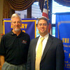 Tinley Park Frankfort-Rotary Club President Paul Lyons (left) welcomed Lt. Commander Kevin Yusman, JAGC, USN, to a club meeting on Sept. 2. Yusman talked about his experiences in Afghanistan while serving as the sole legal advisor for the detachment at Bagram Air Field.