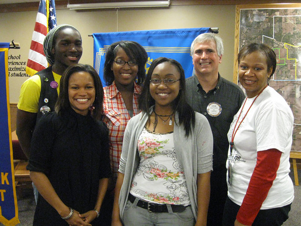 Members of the Tinley Park High School Interact Club recently attended a Tinley Park-Frankfort Rotary Club meeting to talk about some of the community service projects they have been involved in this school year. Pictured here are (from left to right): Interact Club vice president Charles Mitchell, Interact faculty sponsor Tanisha Parks, Interact President Phlinda Thompson, Interact secretary Ryan Brown, Tinley Park-Frankfort Rotary President Steve Purucker and Tinley Park High School Assistant Principal and Rotarian Wendy Bumphis.