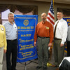 The Tinley Park-Frankfort Rotary club recently inducted two new members to its service organization. Rotary president Karen Wegrzyn (far left), Assistant Governor for Rotary District 6450 Eric Wesel (center) and Rotary president-elect Steve Purucker (far right) welcome Paul Lyons and Jay Walsh to the service club.