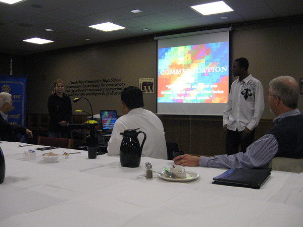 Tinley Park High School senior Rachel Gattone and sophomore Ellis Moore talk about what they learned at a Rotary Youth Leadership Awards (RYLA) program in Lake Geneva. The Tinley Park-Frankfort Rotary Club sponsored the trip.