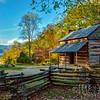 Autumn Sunrise At John Oliver Cabin