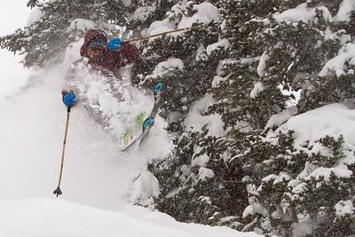 Chuck Mumford enjoys some powder turns at Aspen Highlands, Colorado.