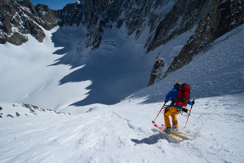 Tom Grant skiing down the Col du Cristo in the Argentiere Basin.