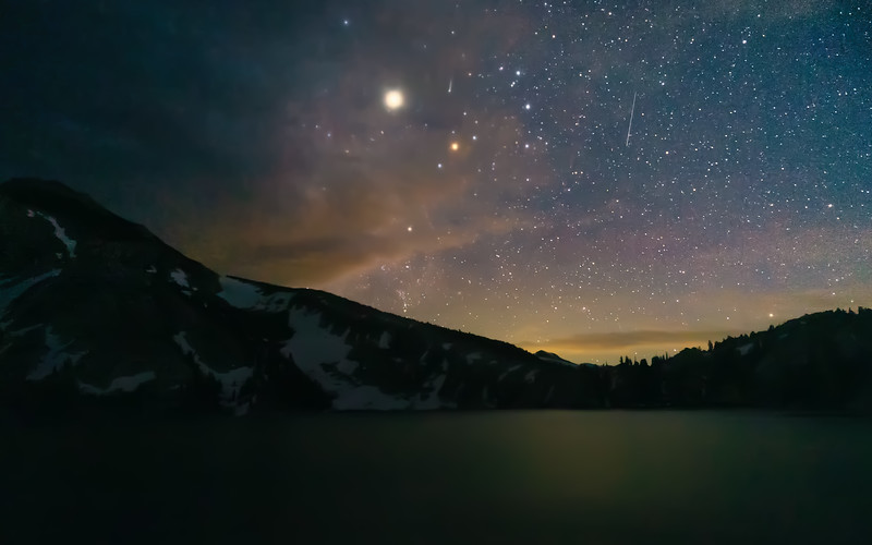 Peeler Lake under a starry sky