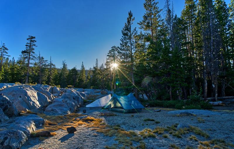 Sunset over camp at Dardanelles Lake