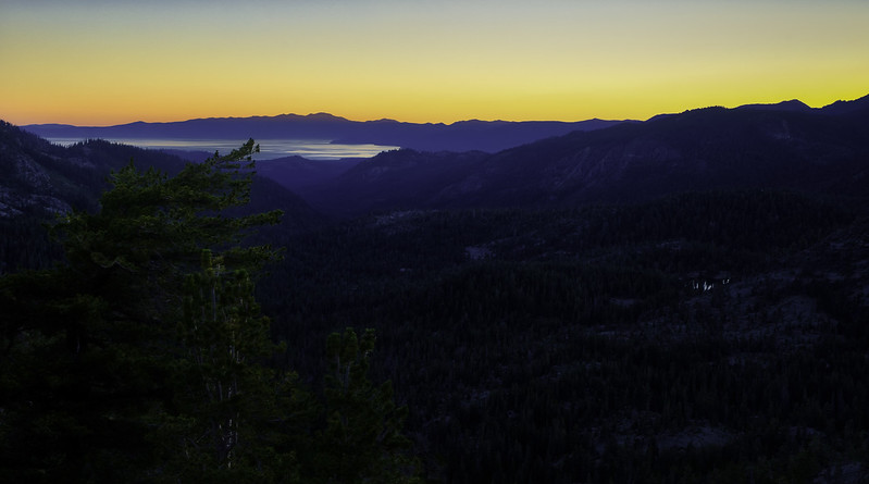 Sunset over Lake Tahoe as seen from Showers Lake