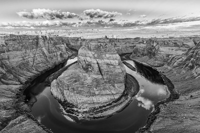 Horseshoe bend, B&W, Arizona_