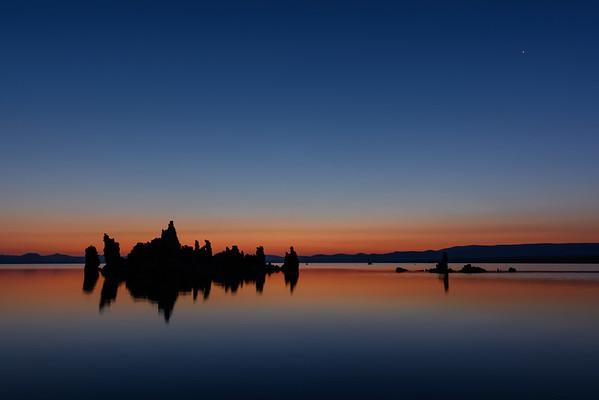 South Tufa Silhouettes At Dusk, Mono Lake