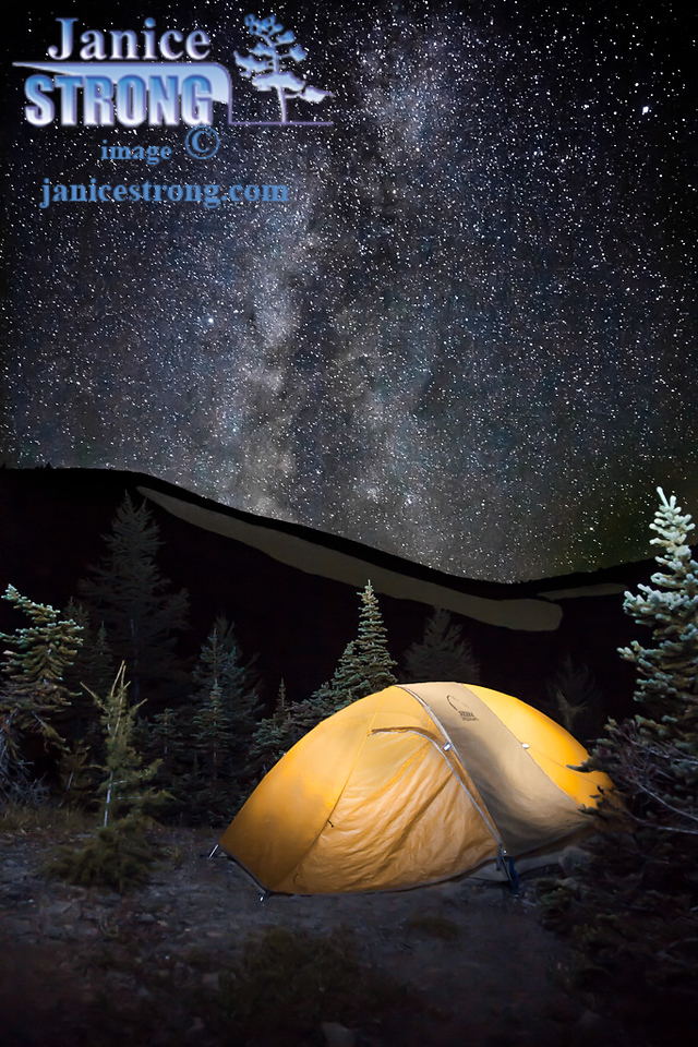 Tent and Milky Way we saw from the high Purcell Mountains near Brewer Tarns